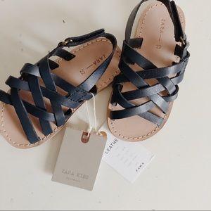 Zara Baby Navy Blue Genuine Leather Sandals ✨NWT✨